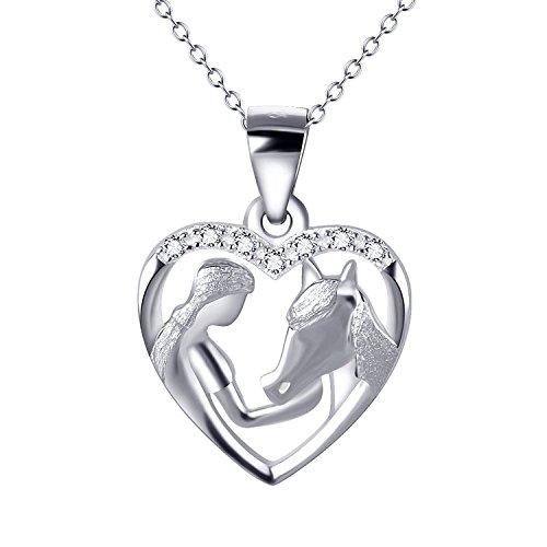 """Pferd und Frauen Ketten Sterling Silber Liebe Herz Halskette Zirkonia Schmuck für Damen, 18\"""""""