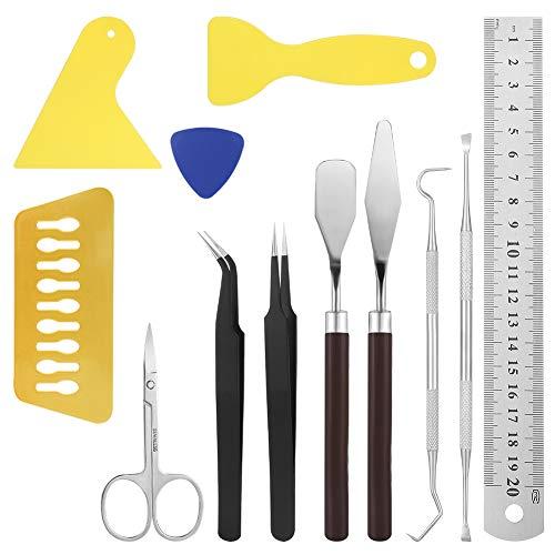 Xinstroe 12 Pcs Craft Weeding Tools Set, Basic Craft Vinyl Tools for Weeding Vinyl Including Scissor Tweezers Weeders Scraper Spatula