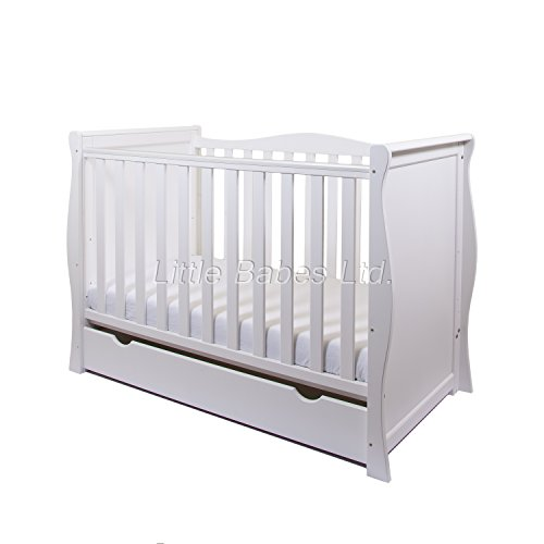 New White Sleigh Mini Cot Bed with Drawer Only - Converts Into Junior Bed - COT & Drawer ONLY (Mattress Not Inlcuded - Require Mattress 120x60cm)