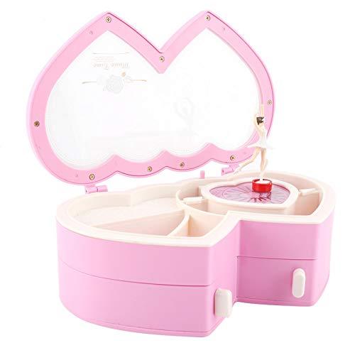 Joyero, caja de música de bailarina de doble corazón Bailarina Joyero musical para niñas pequeñas(Pink)