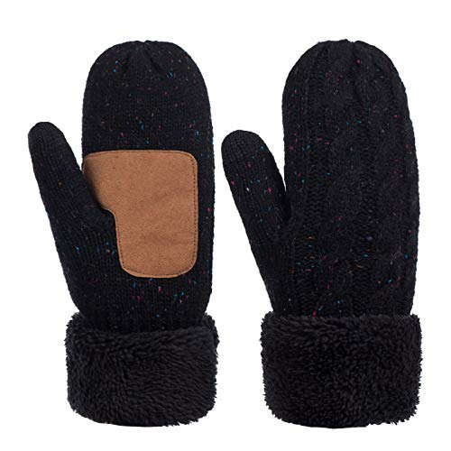 Winter Wool Mitten Gloves For Women, Warm Knit Touchscreen Thermal Cable Gloves With Thick Fleece Lining (Confetti Black)
