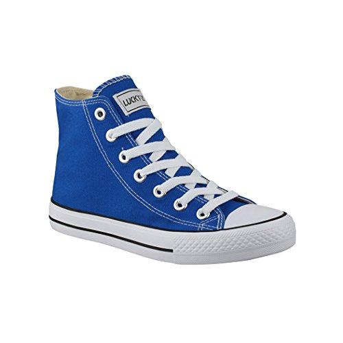 Elara Unisex Kult Sneaker Bequeme Sportschuhe fur Damen und Herren High Top Textil SchuheChunkyrayan Farbe :-Blue, Gr:-39 EU
