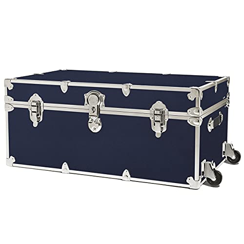 """Rhino Trunk & Case Camp & College Trunk with Removable Wheels 30""""x17""""x13"""" (Navy Blue)"""