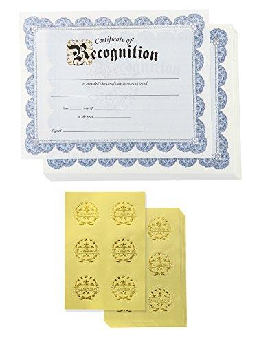 Certificado de reconocimiento y pegatinas de sello de lámina dorada (azul, 8.5 x 11 en, 48 unidades)