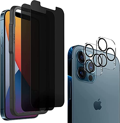 Photo of 2 Pack Privacy Screen Protector Compatible for iPhone 12 Pro Max[6.7''] with 2 Pack Camera Lens Protector, HoiLong 9H Hardness Anti-Spy Tempered Glass Film, With Easy Align tray[Double Protection]