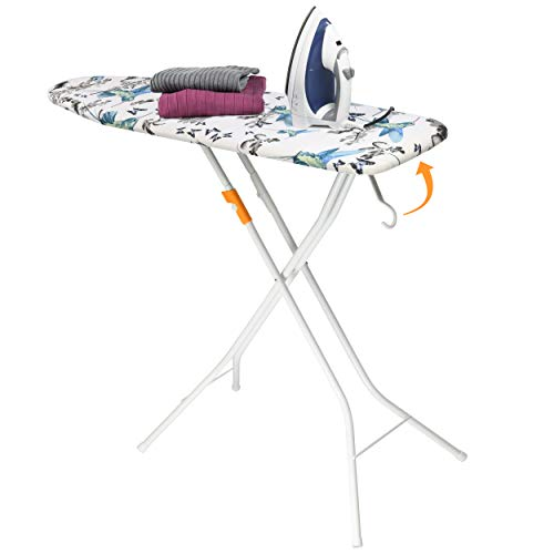 Bartnelli Rorets Ironing Board Made in Europe | Compact Space Saving Smart Hanger Iron Board for Easy Storage | Lightweight, 4 Layer Cover Pad, 4 Leg, for Dorm, Laundry Room, or Small Space(43x13-35)