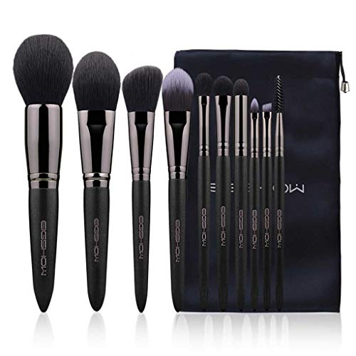 Pinceau de maquillage LHY Set 10 Petits Raisins Ensemble Complet de Set Brosse Douce Maquillage Professionnel Outil Pinceau Mode (Color : Black)
