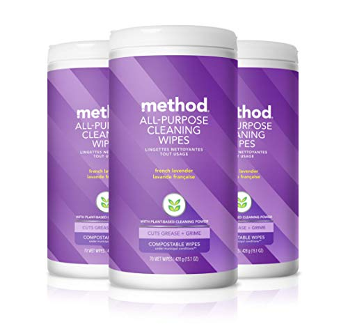 Method All-purpose Cleaning Wipes, French Lavender, 70 Count (Pack of 3), 15.1 Ounces