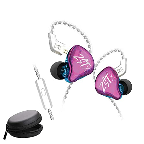 KZ ZST X Hybrid Balance Armature with Dynamic in-Ear Earphone 1BA+1DD HiFi Headset, HiFi Stereo IEM Wired Earbuds/Headphones with Detachable Cable for Musician Audiophile With leatherette Case (ZSTX with Mic, Purple)