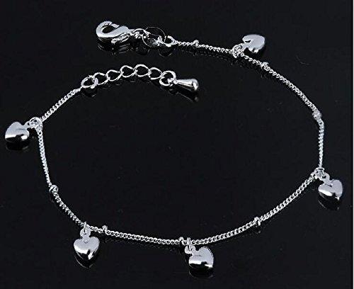 Huntgold 1x, per matrimonio placcato argento cristallo catena cavigliera braccialetto gioielli
