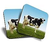 Great Coasters (Set de 2) Posavasos cuadrados/brillantes de calidad para cualquier tipo de mesa - Holstein Friesian Cow Farm Farmer #13030