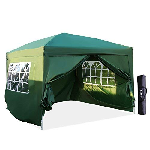 Kinbor Patio 10x10 EZ Pop Up Canopy Tent Instant Canopy Folding Party Tent with Side Walls and Windows