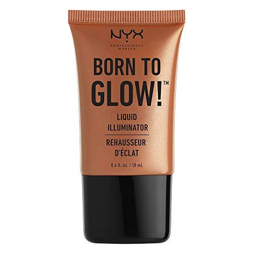 NYX Professional Makeup Born to Glow Liquid Illuminator, Flüssiges Schimmer Makeup, Highlighter, Foundation Base, Vegane Formel, Farbton: Sun Goddess