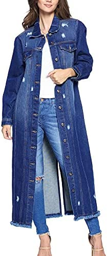 Women's New products world's highest quality popular Classic Distressed Cotton Ranking TOP19 Denim Long Oversized Button Up