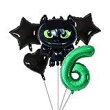 ZWYCEX Globos 5 Cómo entrenar a tu dragón desdentado de dibujos animados papel de globos de 30 pulgadas establecen números verdes del cumpleaños de hotel juego del partido de los juguetes for niños Gl