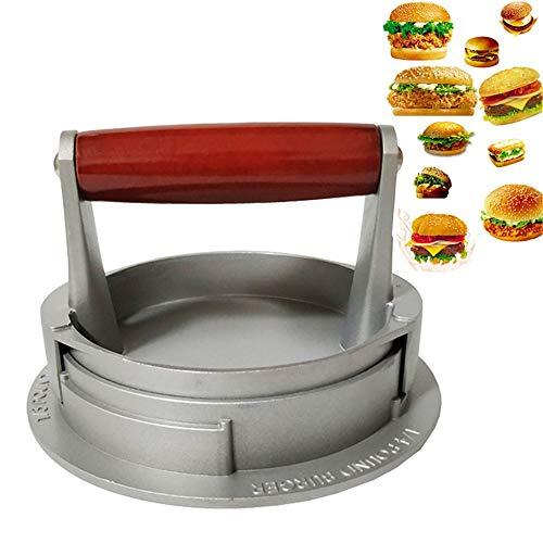 Runde Burger-Presse Hamburger Maker, Antihaft-Hamburger-Pastetchen-Presse für gefüllte Burger-Pastetchen, Slider, Beef Burger für BBQ,Silber