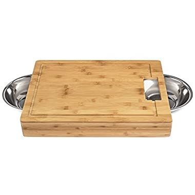 Large Bamboo Cutting Board with Stainless Steel Bowls and Juice Groove | Great tool for prepping vegetables, meat, and chicken | Thick Wood | 17.5 x 13 x 2.5 Inches | A Perfect Gift!