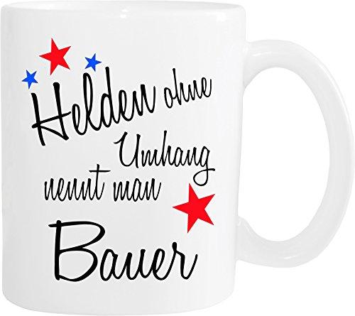 Mister Merchandise Becher Tasse Helden ohne Umhang nennt Man Bauer Kaffee Kaffeetasse liebevoll Bedruckt Beruf Job Geschenk Weiß