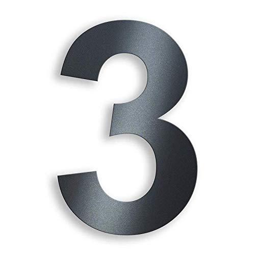 Metzler Hausnummer in Anthrazit - RAL 7016 Anthrazitgrau Feinstruktur Pulverbeschichtet – selbstklebend - Schrift Arial – massiver Stahl – Höhe 7,5 cm – Ziffer 3