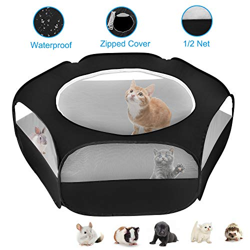 XIRGS Small Animal Playpen, Waterproof Small Pet Cage Tent Portable Outdoor Exercise Yard Fence with Top Cover Anti Escape YardFence for Puppy/Kitten/Cat/Rabbits/Hamster/Hedgehogs/Chinchillas