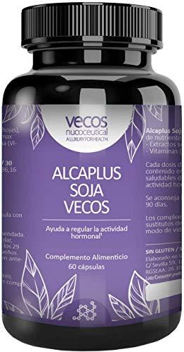 ALCAPLUS SOJA VECOS 60 cápsulas - Isoflavonas de soja junto con Alchafofa. Contra los síntomas de la menopausia y la retención de líquidos.