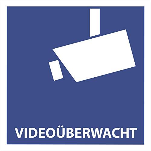 10 Videoüberwacht Aufkleber - Aufkleber Videoüberwacht (10 Stück) 105 x 105 mm Videoüberwacht-Aufkleber vorgestanzt, selbstklebend Video Aufkleber, Diebstahlschutz - Warnzeichen Warnschild