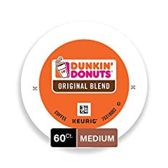 Contains 6 Boxes of 10 K-Cup Pods (60 Count Total) For use in all Keurig K-Cup Brewers Medium roast coffee k cups featuring 100% Premium Arabica Coffee Original Blend is the coffee that made Dunkin' Donuts famous, featuring a rich, smooth taste unmat...