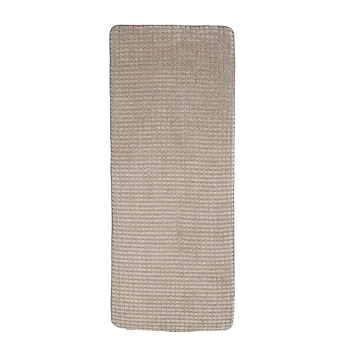 "24""x59"" Memory Foam Extra Long Bath Mat by Lavish Home - Woven Jacquard Fleece - Taupe"