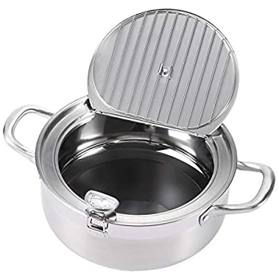 """AQUIVER 3.6Qt Tempura Deep Fryer - 9.5"""" Stainless Steel Frying Pot/Pan with Thermometer & Oil Drip Rack Lid - for Frying Tempura, French Fries, Chicken Steak, Shrimp, Squid, Biscuit, Meatballs"""