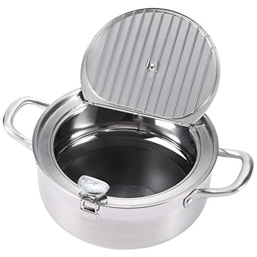 """AQUIVER 3.3Qt Tempura Deep Fryer - 9.5"""" Stainless Steel Frying Pot/Pan with Thermometer & Oil Drip Rack Lid - for Frying Tempura, French Fries, Chicken Steak, Shrimp, Squid, Biscuit, Meatballs"""