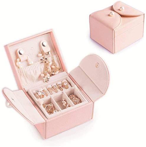 Jewellry Box Organizer for Gift, Lederen Houten Travel bijouterie kofferlades met 2 lagen for armbanden, ringen, oorbellen, kettingen, broches for meisjes Vrouwen Ladies Moeder (roze), Kleur Naam: Whi