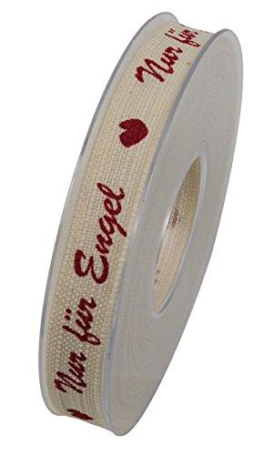 Bellaflor - Nastro in Tessuto con Scritta Nur für Engel, Larghezza: 15 mm, Lunghezza: 15 m, Colore: Crema/Rosso