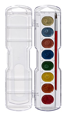 PRANG Washable Watercolor Paint Set, 8 Metallic Colors with Brush, Assorted Colors (80516)