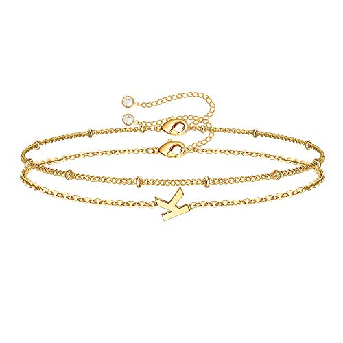 Dainty Gold Initial Bracelets for Women, 14K Gold Plated Gold Bracelets Initial Bracelets for Women Teen Girls Jewelry Chain Bracelets for Girls Kids Toddler Little Girls Jewelry Gifts Letter K