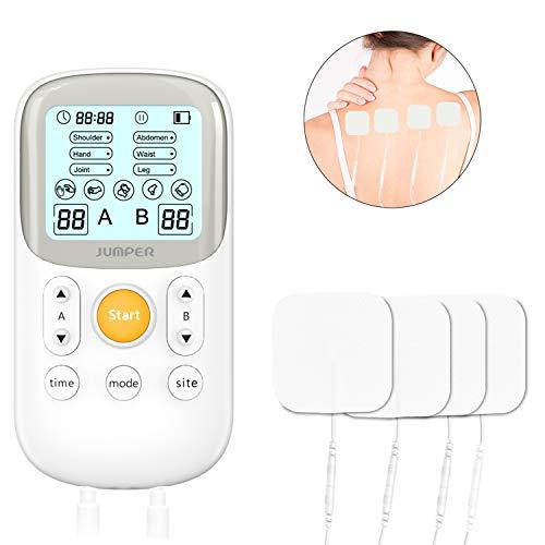 Dispositivo de terapia de máquina decenas de doble canal JUMPER para el manejo del dolor con 5 programas de masaje, 6 modos de dolor para 2 usuarios, máquina TENS para el alivio del dolor