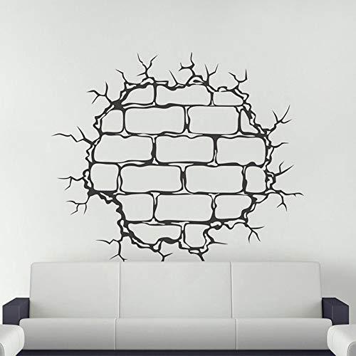 Tianpengyuanshuai Wandaufkleber rissig Wandtattoo gebrochen Backsteinmauer Rissform Wandtattoo 46X42cm