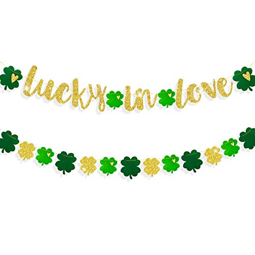 St Patricks Day Decorations Gold Lucky in Love Shamrock Banner with Felt Green Clover Four Leaf Hanging Garland Irish Shamrock Clover Party Supplies for Bridal Shower Engagement Valentines Decor