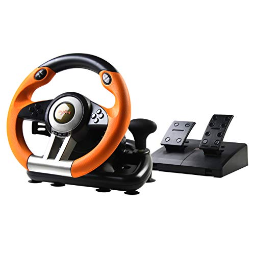 PXN V3 Rennlenkrad Gaming 180° Universal USB Autorennspie Spiel Lenkrad mit Pedalen und Schaltpaddles für Windows PC, PS3, PS4, Xbox One, Nintendo Switch (Orange)