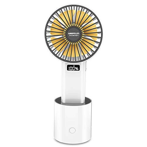 2021最新版携帯扇風機 手持ち 卓上扇風機 USB扇風機 Type-c充電式 LCDディスプレ電量表示 大容量4000mAh 7枚羽根 5段階風量調節 上下角度調節 180度風向き調節 左右首振り スタンド機能 ミニ 小型 ハンディ デスク 軽量 持ち運び オフィス アウトドア PSE認証済