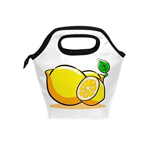 Reusable Lunch Bags Insulated Meal Prep Thermal Lunch Box Hot Cold Food Tote Leak Proof Portable Soft Bag Lemon Clipart Office School Travel Camping Outdoor