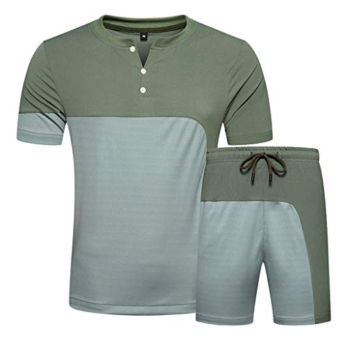 Sportanzug Summer Fashion Herren Freizeitanzug Patchwork Kurzarm T-Shirts Top Shorts Hosen Sets Jogginganzug Trainingsanzug, Army Grün, Medium