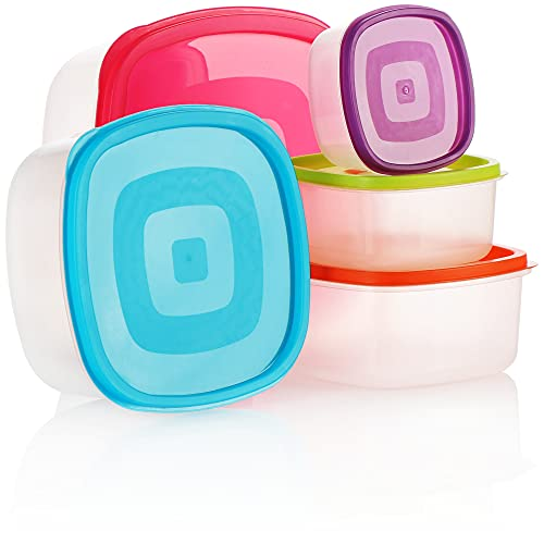 COM-FOUR® Ensemble de bocaux en plastique 5 pièces, récipient de rangement, boîtes de rangement pour aliments en 5 tailles, convient aux lave-vaisselle et aux congélateurs (05 pièces)
