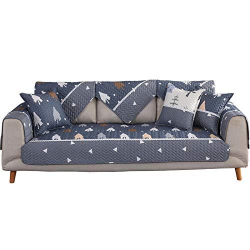 YUTJK Cubierta de cojín de sofá de algodón Sarga,Europeo Fundas de Sofá,Dos Plazas Antideslizante Funda para Sofá,Cubre Sofá para Chaise Long Rinconera,Azul_110×180cm