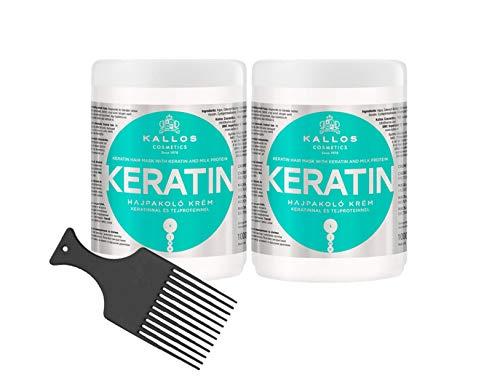 Kallos Cosmetics Keratin 1000ml Regenerierende Haarmaske mit Keratin & Milchproteine für trockenes, brüchiges und chemisch behandeltes Haar 2 Stück + Afro Kamm