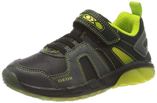 Geox J SPAZIALE Boy A Sneaker, Black/Lime, 32 EU