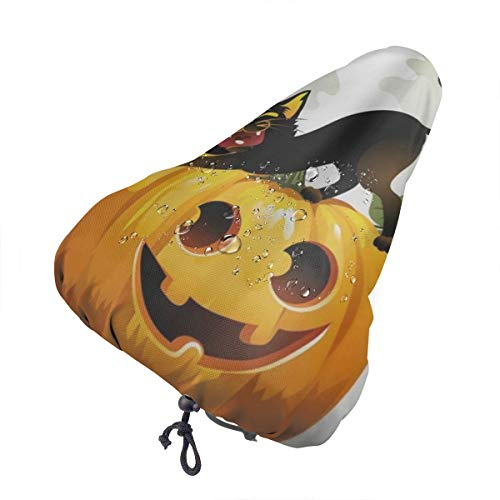 Bike Seat Cover Black Cat On Halloween Pumpkin And Ghost Waterproof Bicycle Seat Rain Cover With Drawstring, Sun/Water/Dust Resistant Bike Saddle Cushion Cover Protector Shield For Women/Men/Unisex