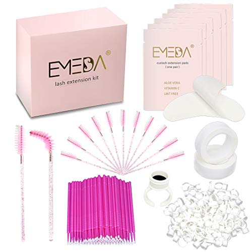 EMEDA Lash Extension Supplies 402PCS Eyelash Extension Kit 4 x 100PCS Under Eye Gel Patches Disposable Eye Mascara Brush Wands Micro Applicators Brush Glue Ring Holder 2PCS Tape Professional Tools