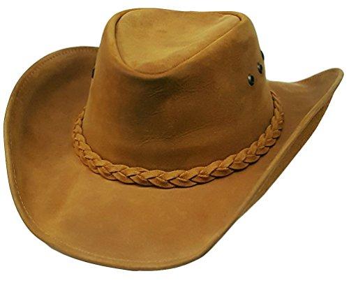 Modestone Unisex Leather Chapeaux Cowboy Tan