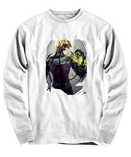 Yinz Hombre Long Sleeve Shirt Genos - One Punch Man Impresión del patrón Blanco X-Large