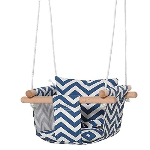 Silla de hamaca de bebé Caja fuerte colgante Asiento de lona con cojín de algodón Almohada de almohada Marco de madera, Baby Swing TVAS Asiento